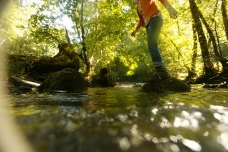Pause  au bord de la rivière sur le sentier de l'imaginaire Au fil de l'eau
