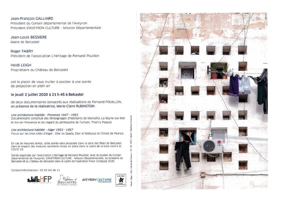 Projection en plein air: documentaires consacrés aux réalisations de Fernand Pouillon