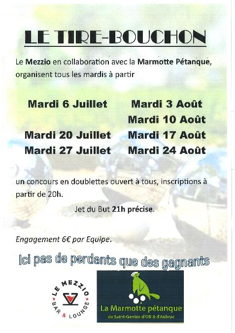 Concours de pétanque à St Geniez d'Olt