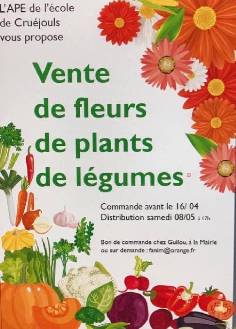 Vente de fleurs, de plants, de légumes
