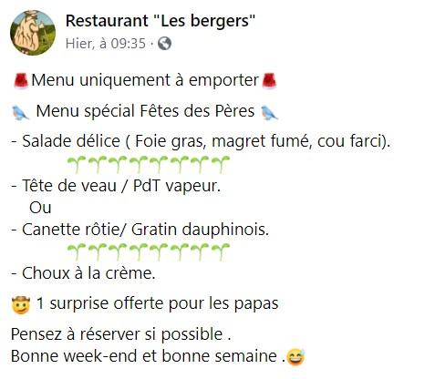 Repas Fête des pères au Restaurant Les Bergers