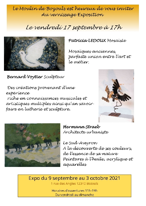 Exposition de mosaïques, sculpteur, peintures