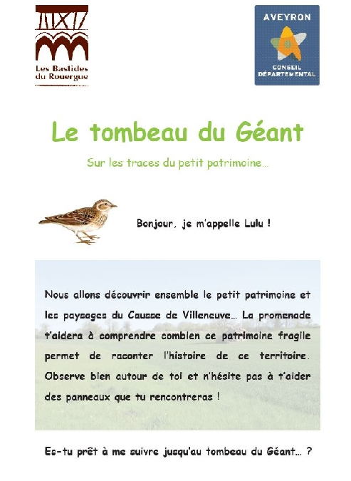 Le Tombeau du Géant - Parcours pédagogique, livret jeu
