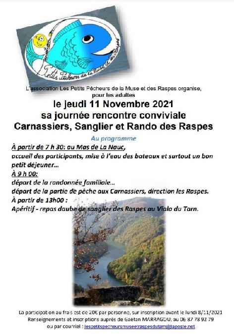 Journée rencontre conviviale Carnassiers, Sangliers et Rando des Raspes (stage adulte)