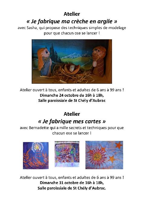 Atelier cartes de noel à St Chély d'Aubrac